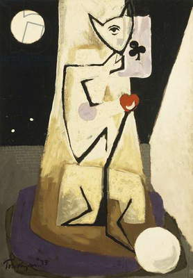 Standing Figure with Ace of Clubs, 1933 (oil on canvas)