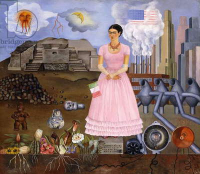 Self Portrait on the Border between Mexico and the United States of America, 1932 (oil on tin)