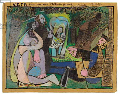 Le Dejeuner sur l'Herbe, 1959 (coloured wax crayons and brush and black ink on panel)