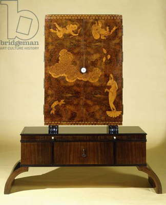 A burr-walnut and marquetry jewellery cabinet on stand, with cupboard doors showing the birth of Venus, late 1920s (burr-walnut & marquetry jewellery cabinet on stand)