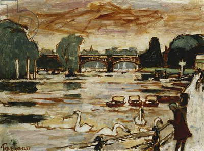 Richmond Bridge, 1955 (oil on board)