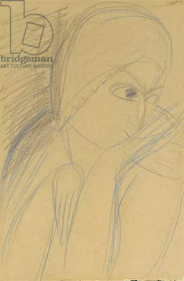Mademoiselle Pogany, 1912 (blue wax crayons and pencil on buff paper)
