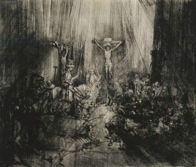 Christ Crucified Between the Two Thieves - 'The Three Crosses', c.1653-1661 (drypoint with engraving)