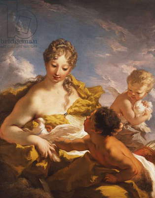Venus, Cupid and a Faun, 1708-13 (oil on canvas)