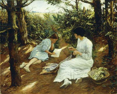 Amongst the Pines, 1915 (oil on canvas)