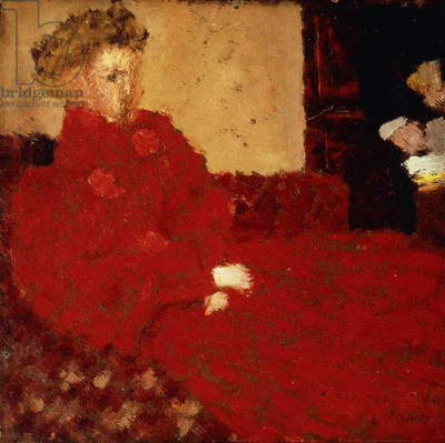 Woman in Red, Sitting; Femme en Rouge Assise, c.1892 (oil on board)