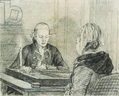 A Seated Couple, the Lady seen from Behind, playing Backgammon by Candlelight,  (black chalk)