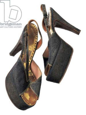 Gold lame mules worn by Marilyn Monroe, labeled Anello & Davide, London, c.1956 (photo)