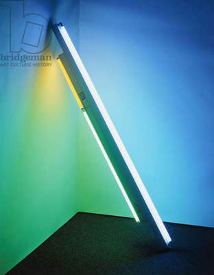 Untitled (Fondly to Helen), 1976 (blue, green and yellow fluorescent lights and fixtures (leaning corner piece)
