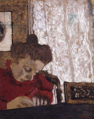 Marie Vuillard writing; Marie Vuillard ecrivant, c.1895 (oil on board)