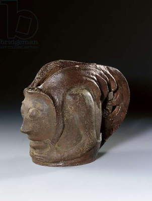 Pot in the form of a grotesque head, c.1895 (glazed earthenware)