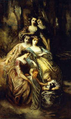 Empress Eugenie and Her Attendants,  (oil on canvas)