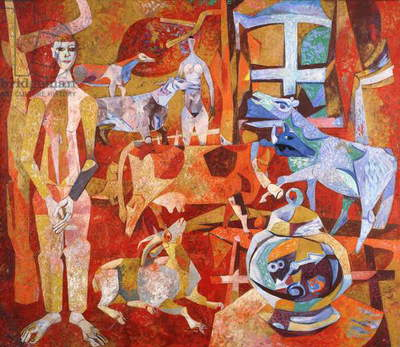 Figure with Animals and an Alarm Clock; Figuren mit Tieren und Wecker, c.1951 (oil on canvas)