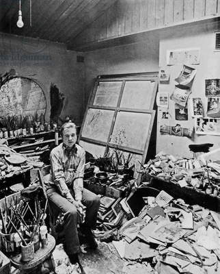 Francis Bacon in his 7 Reece Mews Studio, 1974 (b/w photo)