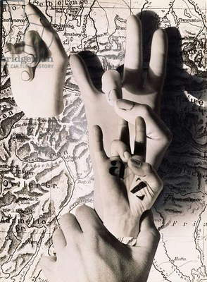 Hand Acts, 1932 (gelatin silver print photomontage, with airbrush)