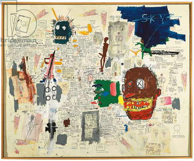 Untitled, 1987 (acrylic, oilstick, graphite, paper collage and crayon on canvas)