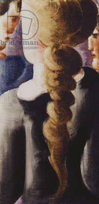Dark Pigtail from behind, Small image I; Schwarzbezopfte von hinten, Kleinbild I, 1932 (oil and pencil on canvas-board)
