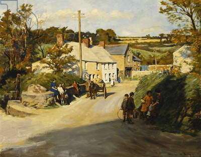 A Cornish Village, 1925 (oil on canvas)
