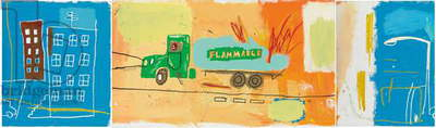 Gas Truck, 1984 (acrylic and oilstick on canvas; triptych)