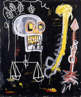 Untitled (Black Skull), 1982 (acrylic, coloured oilsticks and spray paint on canvas)