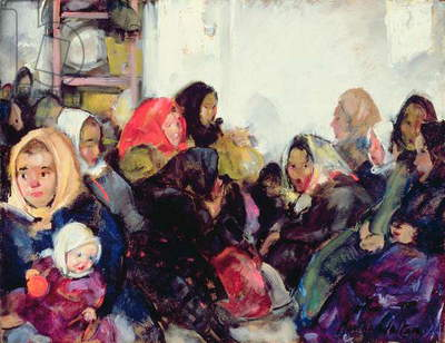 Czech Immigrants, Ellis Island (oil on canvas)
