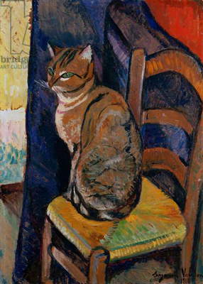 Study of a Cat Sitting on a Chair; Etude d'un Chat, Assis sur une Chaise (oil on canvas)