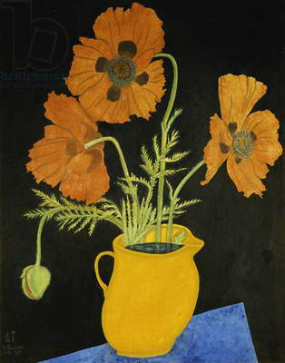 Yellow Poppies in a Pitcher; Coquelicots dans un Pichet Jaune, 1917 (watercolour and gouache on paper)