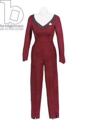Jumpsuit worn by Marina Sirtis as Deanna Troi, during the second and third seasons of ''Star Trek: the Next Generation'', 1987-94 (texile)