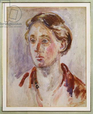 Portrait of Virginia Woolf (w/c, bodycolour & pencil)