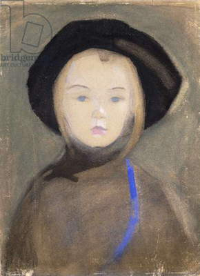 Girl with Blue Ribbon, 1909 (watercolour, gouache and pastel on buff paper)