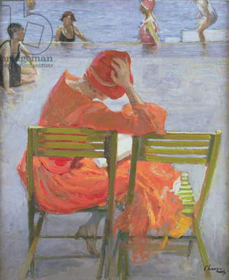 Girl in a red dress reading by a swimming pool, 1936 (oil on canvas)