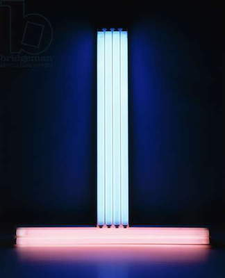 Untitled (To Don Judd - Colorist), 1987 (pink and blue fluorescent lights and fixtures)
