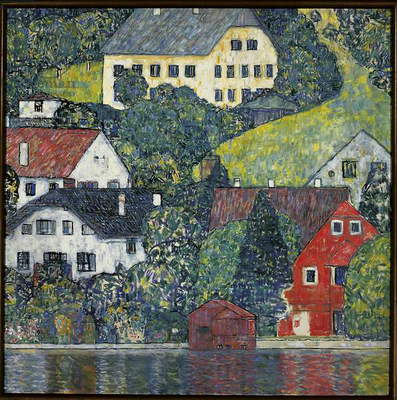 Houses at Unterach on the Attersee, c.1916 (oil on canvas)