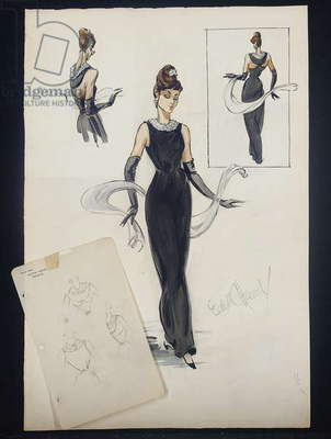 Costume sketch of Audrey Hepburn as Holly Golightly in 'Breakfast at Tiffany's', 1961 (pencil & w/c on paper)