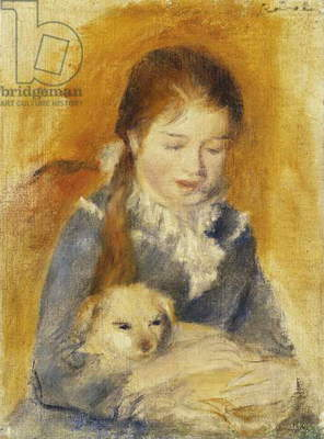 Girl with Dog; Fillette au  Chien, c.1875 (oil on canvas)