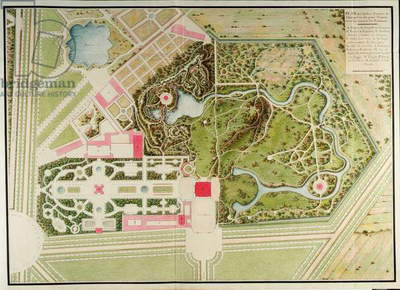 Plan des jardins français et champêtre du Petit-Trianon avec les masses du bâtiment, from Recueil des plans du Petit Trianon by Richard Mique (1728-94), 1781 (ink & w/c on paper)
