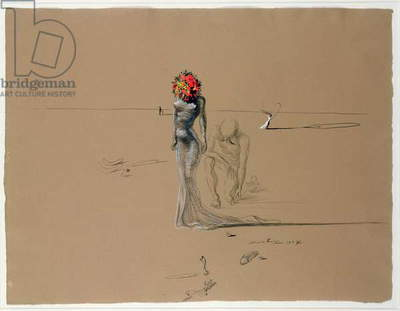 Untitled - Woman with a Flower Head, 1937 (ink & gouache on paper)