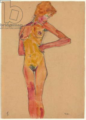 Standing Female Nude (Gerti Schiele); Stehender weiblicher Akt (Gerti Schiele), 1910 (watercolour and charcoal on paper)
