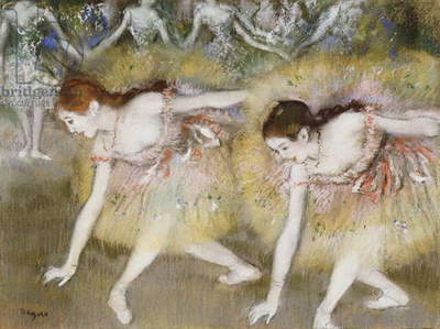 Dancers Bending Down (oil on canvas)