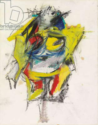 Woman, 1953 (oil, charcoal, wax crayon and graphite on paper)