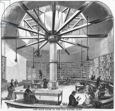 The Book Room in the Old Water Tank, from 'The Merchants and Manufacturers of Chicago', published by J.M. Wing & Co., 1873 (litho)