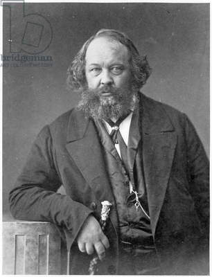 Portrait of Mikhail Aleksandrovich Bakunin (1814-76) c.1860 (litho) (b/w photo)