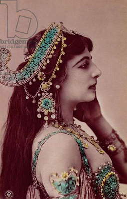 Postcard of Mata Hari (1876-1917) before 1914 (colour litho)