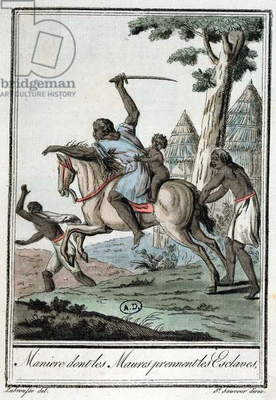 How the Moors capture their slaves, from 'Encyclopedie des Voyages', 1796 (coloured engraving)