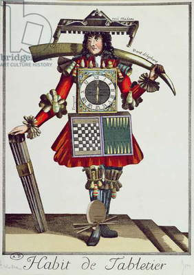 Costume of a Tabletier, c.1700 (coloured engraving)