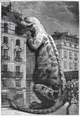Prehistoric monster in a modern town, engraved by Motty (19th century) illustration from 'Le Monde Avant la Creation de l'Homme' by Camille Flammarion, published by Marpon and Flammarion, 1886 (engraving) (b/w photo)