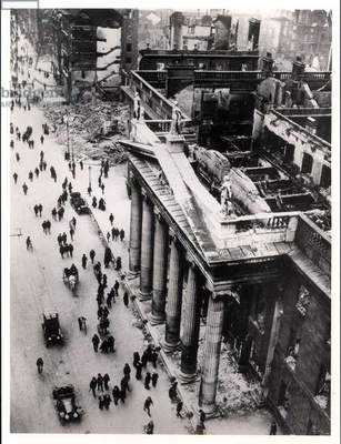The Dublin General Post Office after the Easter Uprising of 1916 (b/w photo)