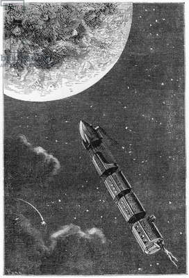 Leaving for the Moon, illustration from 'From the Earth to the Moon' by Jules Verne (1828-1905) Paris, Hetzel, published in 1865 (engraving) (b/w photo)