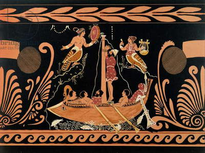Ulysses and the Sirens, illustration from an antique Greek vase (colour litho)