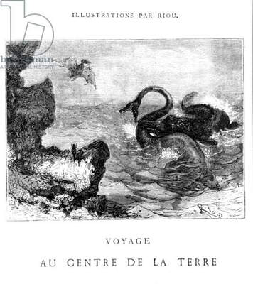 Illustration from 'Voyage au centre de la terre' by Jules Verne (1828-1905), engraved by Pannemaker, published by J.Hetzel, 19th century (engraving) (b/w photo)